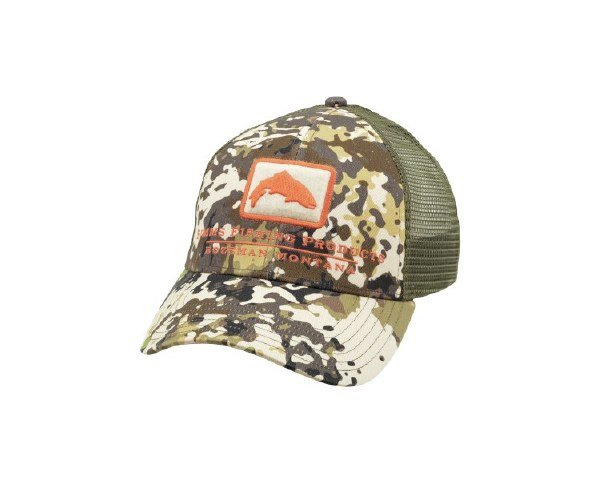 Simms Trout Logo Trucker Cap River Camo